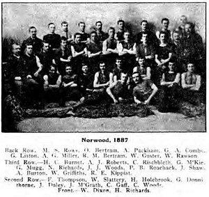 1887 SAFA season - 10th SAFA season Pictured above is the 1887  premiership team.