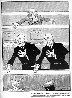 "Turno - New Theatre ""The Twins""  from the Spanish magazine Gedeón, 1909."