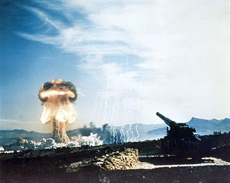 Gun-type fission weapon - Upshot–Knothole Grable, a 1953 test of a nuclear artillery projectile at Nevada Test Site (photo depicts 280 mm gun and explosion), used a gun-type shell.