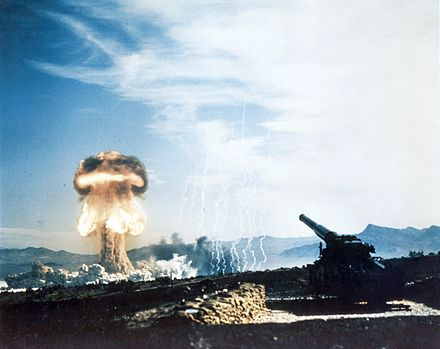 Artillery ammunition can also make use of nuclear warheads, as seen in this 1953 nuclear test. Nuclear artillery test Grable Event - Part of Operation Upshot-Knothole.jpg