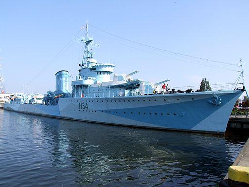 The destroyer ORP Blyskawica in Gdynia harbor.