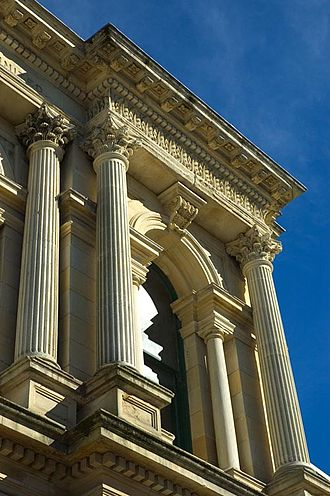 Oamaru - A building made of Oamaru stone, in the neo-classical style