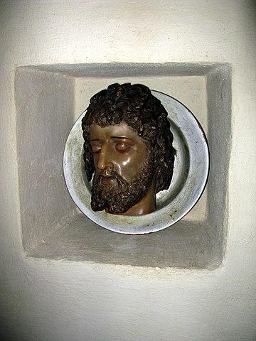«Голова святого Иоанна Предтечи», деревянная скульптура, Германия