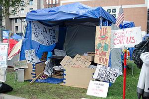 Occupy Boston - Image: Occupy Boston sign tent