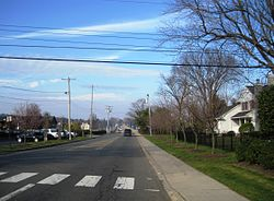 Looking north on Bingham Avenue (CR 8A) towards the Oceanic Bridge
