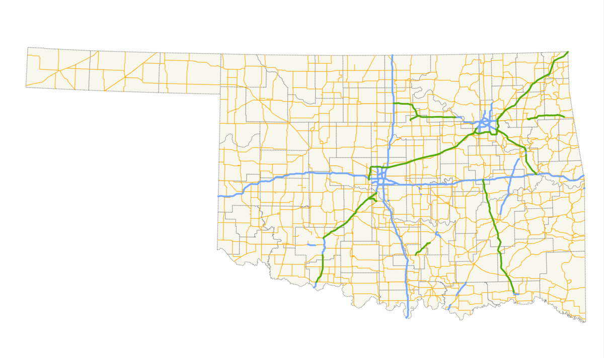 List Of State Highways In Oklahoma Wikipedia - Oklahoma highways map