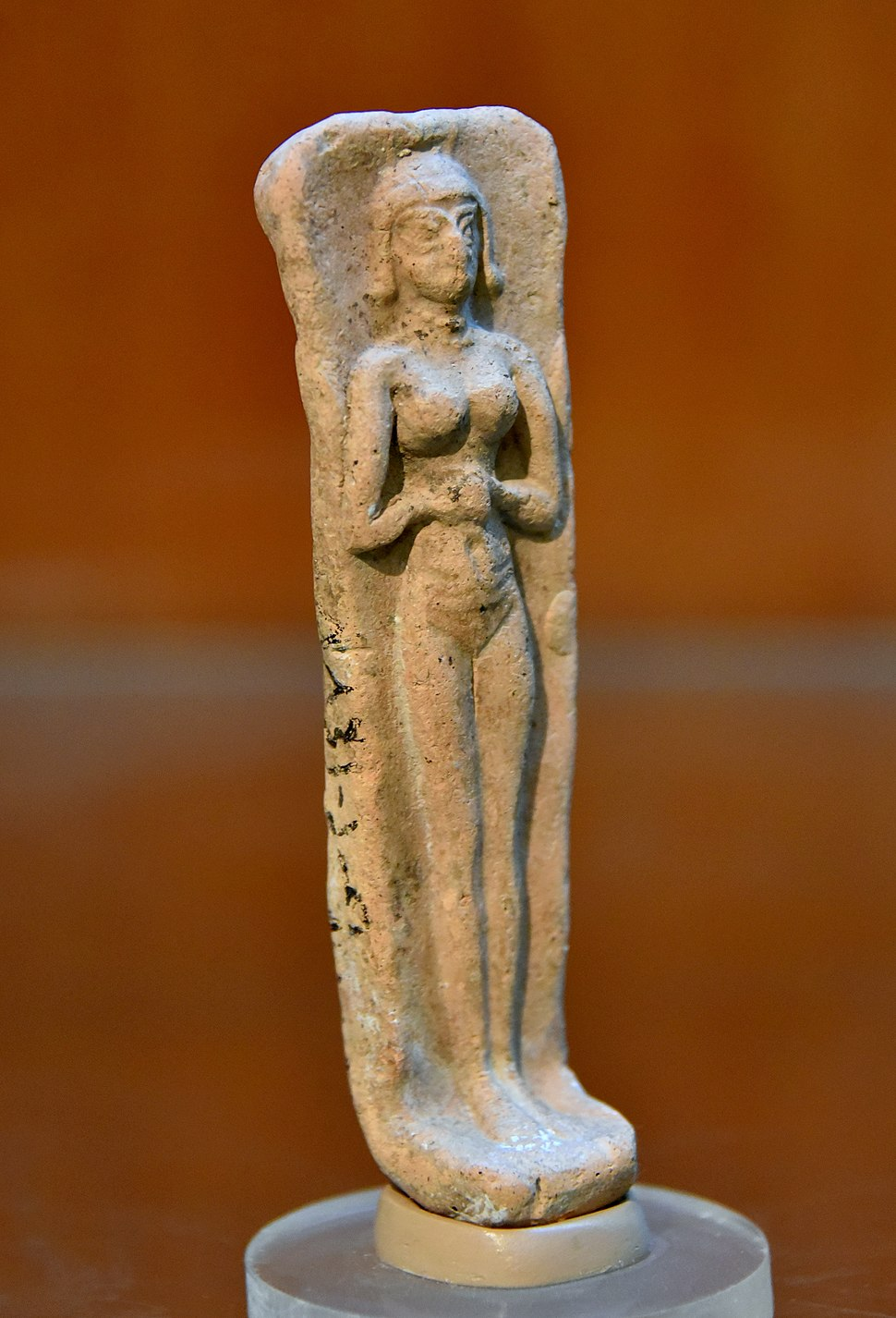Old-Babylonian plaque of a nude female, from Tell Asmar, Iraq