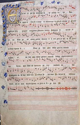 Old Hall Manuscript - Folio 12v of the Old Hall Manuscript contains the decorated opening to a Gloria by Roy Henry (probably King Henry V).