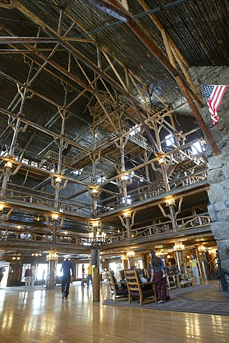 Old Faithful Inn - The interior contains four stories of balconies, but only the bottom two are open to the public.