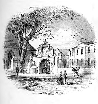 Aberdeen Trades Hospitals - The Trades Hospital Aberdeen, c1830 at Trinity Corner. Behind the Dr. Guild Gateway are Trinity Hall and the Trades Hospital (to the right).