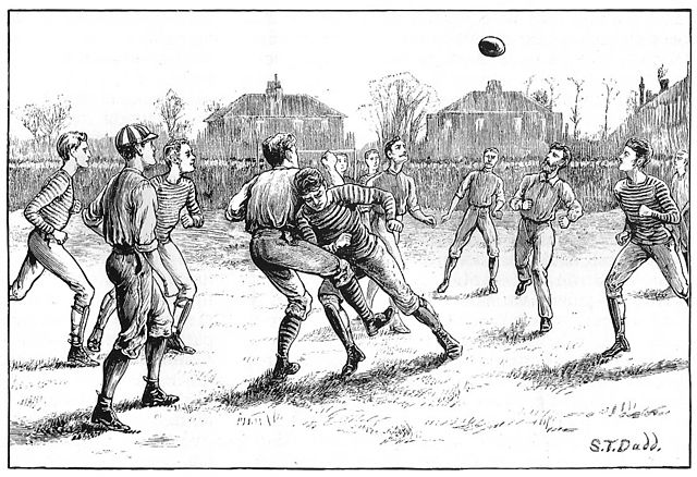 an 1871 illustration of the Old Etonians vs. Blackburn Rovers playing under the association football code established 8 years prior - History of Football (American)