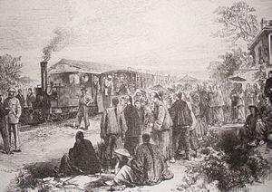 Rail transport in China - The opening of the short-lived Woosung Road, the first railway in China, between Shanghai and Wusong in 1876.