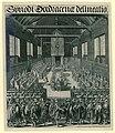 Opening van de synode van Dordrecht, 1618 Synodi Dordracenae delineatio (titel op object), RP-P-OB-77.280.jpg