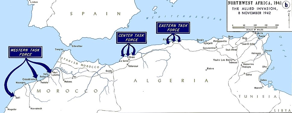 Operation Torch - map