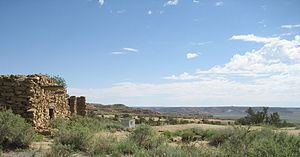 Oraibi, Arizona - Very old abandoned house and panoramic view on the outskirts of Oraibi village