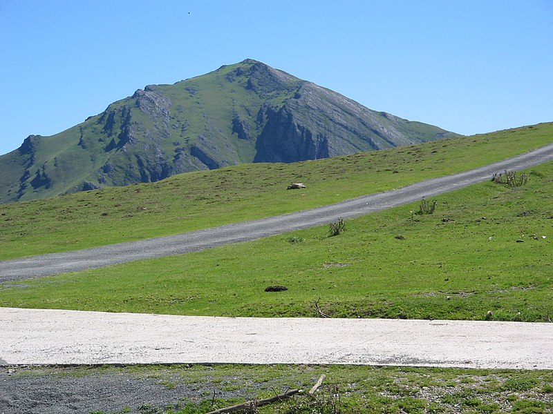 View of Mt. Errozate (1,345 m) from the Organbidexka pass in the Basque Country