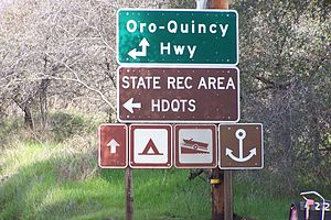California State Route 162 - The junction of SR 162 and the Oroville-Quincy Highway near Lake Oroville SRA Headquarters