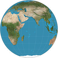 Orthographic map projection of the Eastern Hemisphere