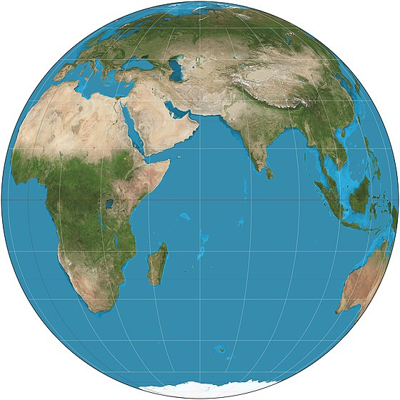 Orthographic projection (equatorial aspect) of eastern hemisphere 30W-150E Orthographic projection SW.jpg