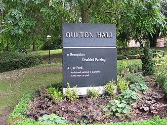 Oulton Hall - Image: Oulton Hall Sign 2016