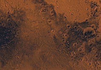 Mare Tyrrhenum quadrangle - Image of Mare Tyrrhenum quadrangle (MC-22). Most of the region contains heavily cratered highlands. The central part contains Tyrrhena Patera and the associated ridged plains of Hesperia Planum.