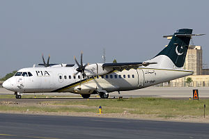 Multan International Airport - PIA ATR 42 taxiing to the runway.
