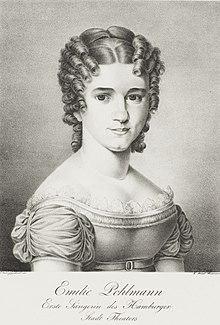 Emilie Pohlmann; Lithographie von Carl Friedrich Weidemann (1821) (Quelle: Wikimedia)