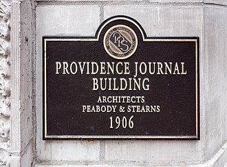 The Providence Journal - Image: PPS Plaque on Providence Journal Building