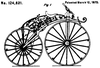 A line drawing of a spoked wheel velocipede with a steam engine