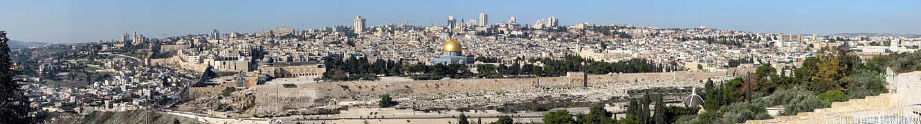 Panorama of the Temple Mount, including Al-Aqsa Mosque and Dome of the Rock, from the Mount of Olives