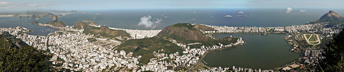 A panorama taken from Corcovado of Rio de Janeiro, from Niterói city, Botafogo, Leme and the Sugar Loaf Mountain on the far left, to Humaitá, Copacabana and Peixoto in the middle, and Ipanema, Lagoa and Leblon at the far right.