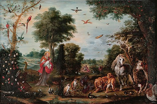 Paradise landscape with the Creation of the animals, by Jan Brueghel II and workshop
