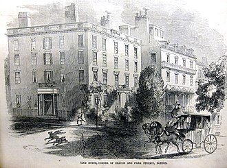 George Ticknor - Ticknor House (left), Park Street, Boston, 1850s