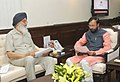 Parkash Singh Badal meeting the Minister of State for Information and Broadcasting (Independent Charge), Environment, Forest and Climate Change (Independent Charge) and Parliamentary Affairs, Shri Prakash Javadekar (1).jpg