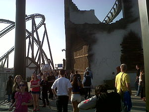 The Swarm (roller coaster) - Image: Part of the swarms destroyed church