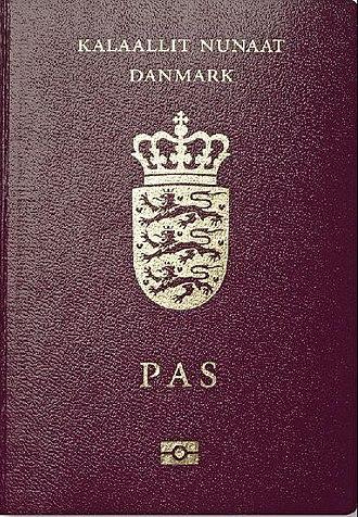 Danish passport - The front cover of a contemporary biometric Danish diplomatic passport, biometric Faroese passport, and biometric Greenlandic passport.