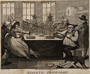 Patients undergoing magnetic therapy. Etching by J. Barlow, Wellcome V0011097.jpg