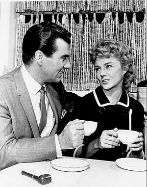 Paul Picerni - Paul Picerni and Peggy McCay in a scene from TV's The Young Marrieds (1964)