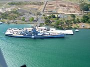 USS Missouri (BB-63), now a museum ship, docked at Pearl Harbor