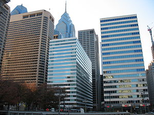 Architecture of Philadelphia - Centre Square (left) and Penn Center (right), looking west from Dilworth Park.