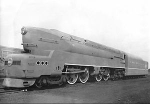 Pennsylvania Railroad 5550 - PRR 6110, the prototype for the T1 class steam locomotive built for the Pennsylvania Railroad by the Baldwin Locomotive Works seen in 1942.