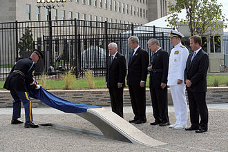 Pentagon Memorial - The first inscribed memorial unit unveiled at the dedication ceremony on September 11, 2008