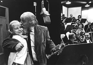 Here's Love - Kathy Cody and Laurence Naismith recording the cast album for Here's Love