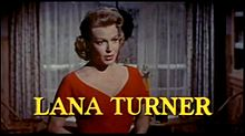 """Woman in red dress with name """"Lana Turner"""" below"""