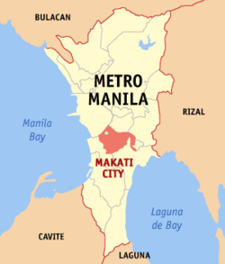 Map of Metro Manila with Makati highlighted