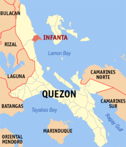 Map of Quezon showing the location of Infanta