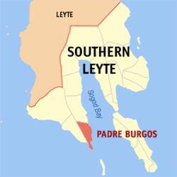 Map of Southern Leyte with Padre Burgos highlighted