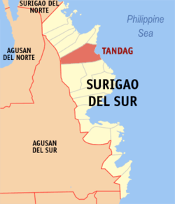Map of Surigao del Sur showing the location of Tandag City