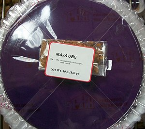 Maja blanca - Maja de ube, a variant of maja blanca that uses ube (purple yam) resulting in a deep purple color.