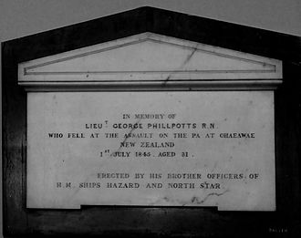 HMS Hazard (1837) - Memorial to George Phillpotts in St James' Church, Sydney erected by his brother officers of the Hazard and North Star